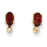 Diamond & Garnet Birthstone Earrings 14k Gold XBE180
