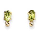 Diamond & Peridot Birthstone Earrings 14k Gold XBE187