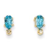 Diamond & Blue Topaz Birthstone Earrings 14k Gold XBE191