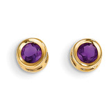 4mm Bezel February/Amethyst Post Earrings 14k Gold XBE2