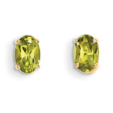 6x4 Oval August/Peridot Post Earrings 14k Gold XBE20