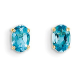 6x4 Oval December/Blue Topaz Post Earrings 14k Gold XBE24