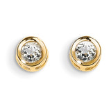 4mm Bezel April/White Zircon Post Earrings 14k Gold XBE4