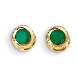 4mm Bezel May/Emerald Post Earrings 14k Gold XBE5