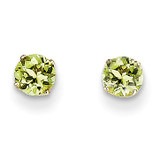 4mm August/Peridot Post Earrings 14k Gold XBE56