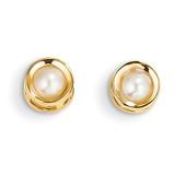4mm Bezel June/Cultured Pearl Post Earrings 14k Gold XBE6