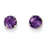 5mm Amethyst Earrings February 14k Gold XBE62