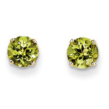 5mm Peridot Earrings August 14k Gold XBE68