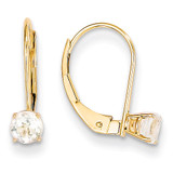 White Zircon Earrings April 14k Gold XBE76