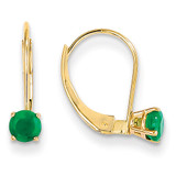 4mm Round May/Emerald Leverback Earrings 14k Gold XBE77