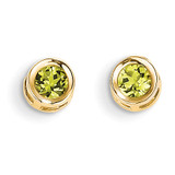 4mm Bezel August/Peridot Post Earrings 14k Gold XBE8