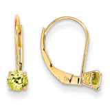 4mm Round August/Peridot Leverback Earrings 14k Gold XBE80