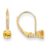 4mm Round November/Citrine Leverback Earrings 14k Gold XBE83