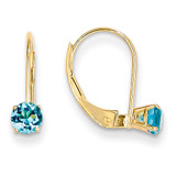 4mm Round December/Blue Topaz Leverback Earrings 14k Gold XBE84