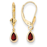 6x4mm Garnet/January Earrings 14k Gold XBE85