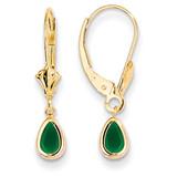 6x4mm Emerald/May Earrings 14k Gold XBE89