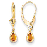 6x4mm November/Citrine Earrings 14k Gold XBE95