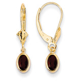 6x4mm Garnet/January Earrings 14k Gold XBE97