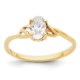 White Topaz Birthstone Ring 14k Gold XBR133
