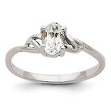 White Topaz Birthstone Ring 14k White Gold XBR145