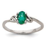 Emerald Birthstone Ring 14k White Gold XBR146