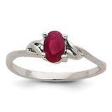 Ruby Birthstone Ring 14k White Gold XBR148