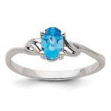 Blue Topaz Birthstone Ring 14k White Gold XBR153