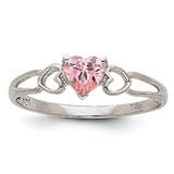 Pink Tourmaline Birthstone Ring 14k White Gold XBR175