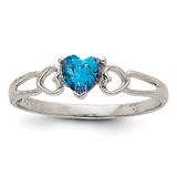 Blue Topaz Birthstone Ring 14k White Gold XBR177