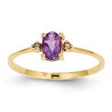 Diamond & Amethyst Birthstone Ring 14k Gold XBR203