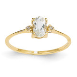 Diamond & White Topaz Birthstone Ring 14k Gold XBR205