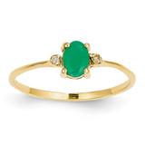 Diamond & Emerald Birthstone Ring 14k Gold XBR206