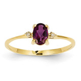 Diamond & Rhodolite Garnet Birthstone Ring 14k Gold XBR207