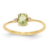 Diamond & Peridot Birthstone Ring 14k Gold XBR209