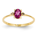 Diamond & Pink Tourmaline Birthstone Ring 14k Gold XBR211