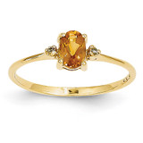 Diamond & Citrine Birthstone Ring 14k Gold XBR212