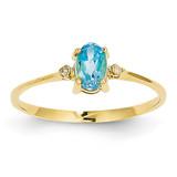 Diamond & Blue Topaz Birthstone Ring 14k Gold XBR213