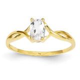 White Topaz Birthstone Ring 14k Gold XBR229