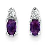 Amethyst Diamond Earring 14k White Gold Genuine XBS227