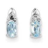 Aquamarine Diamond Earring 14k White Gold Genuine XBS235