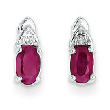 Ruby Diamond Earring 14k White Gold Genuine XBS239