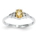 Citrine Diamond Ring 14k White Gold Genuine XBS248