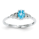 Blue Topaz Diamond Ring 14k White Gold Genuine XBS249