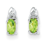 Peridot Diamond Earring 14k White Gold Genuine XBS250