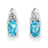 Blue Topaz Diamond Earring 14k White Gold Genuine XBS254