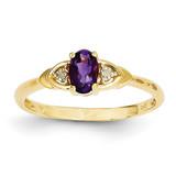 Diamond & Amethyst Ring 14k Gold XBS261