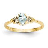 Diamond & Aquamarine Ring 14k Gold XBS266