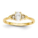 Diamond & White Topaz Ring 14k Gold XBS267
