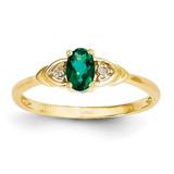 Diamond & Genuine Emerald Ring 14k Gold XBS268