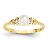 Diamond & Cultured Pearl Ring 14k Gold XBS269